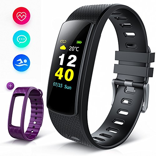 iWOWNfit Fitness Tracker Color Screen, i6HRC IP67 Waterproof Smart Watch Activity Tracker with Heart Rate Monitor, Sleep Monitor, Smart Bracelet Pedometer Bluetooth Wristband with Replacement Band