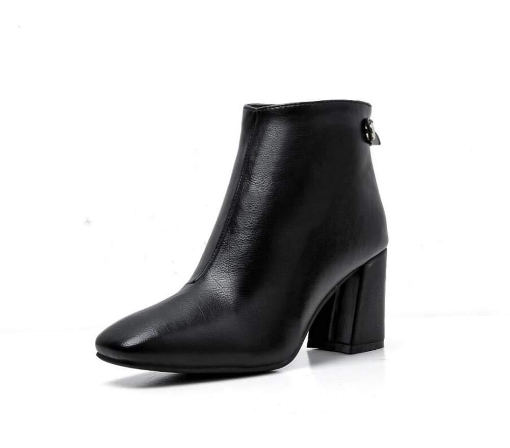 Frauen Knöchel Stiefelie 7Cm Chunkly Heel Martin Stiefel Square Toe Reißverschluss Reine Farbe Kleider Schuhe OL Court Schuhes EU Größe 34-40