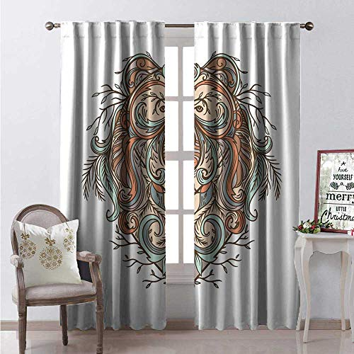 Hengshu Animal Room Darkening Wide Curtains Highly Detailed Bear Figure Abstract Floral Ornamental Tattoo Art in Boho Style Decor Curtains by W108 x L84 Multicolor