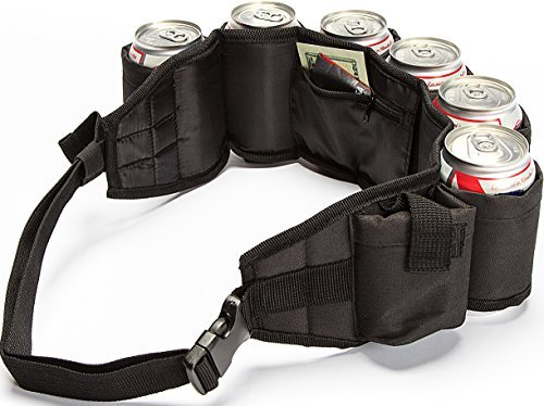BEERBONG .COM Beer Belt Insulated with Inside Money Holder Zipper Pocket Plus Extra Pocket for Phone or Smokes Quality Made! (6 Colors to Choose from) (Black)]()