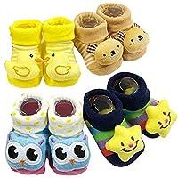 BabyGo Pack of 4 pairs Cartoon Baby Booties Socks Slippers 0-6 Months (Boy Designs)
