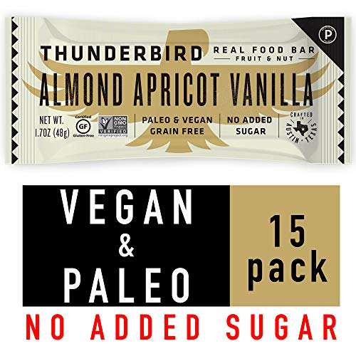 Thunderbird Paleo and Vegan Snacks – Real Food Energy Bars – Fruit & Nut – Box of 15 – No Added Sugar, Grain and Gluten Free, Non-GMO (Almond Apricot Vanilla)