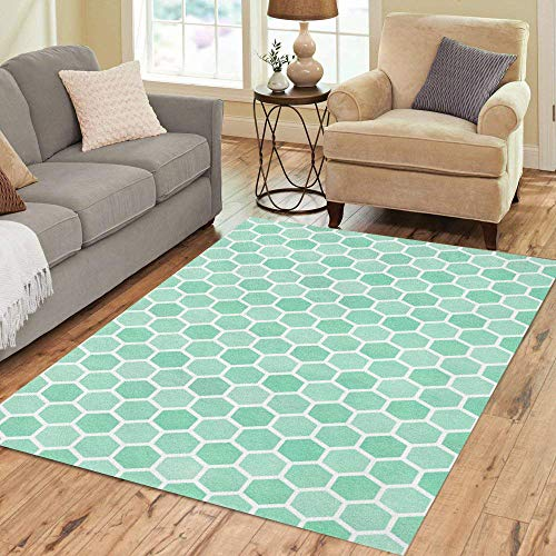 Pinbeam Area Rug Cell Watercolor Seafoam Blue Geometrical Comb Pattern Hexagonal Home Decor Floor Rug 2' x 3' Carpet