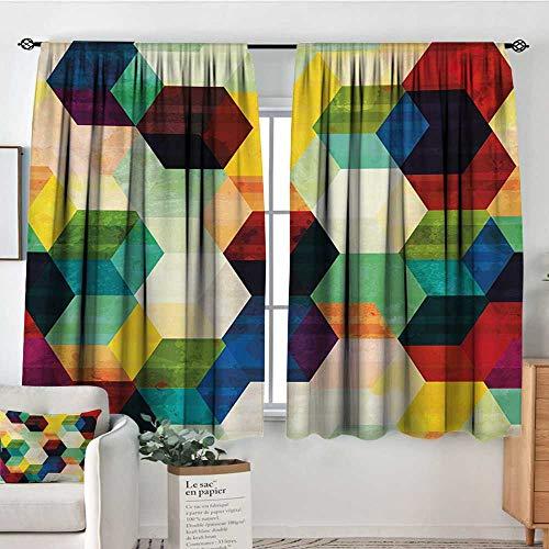 Mozenou Vintage Room Darkening Curtains Rhombus Pattern Grunge Effect Hexagonal Pattern Colorful Geometric Mosaic Artwork Drapes for Living Room 72