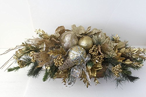 erpiece gold, Unique Holiday Table Décor, large Christmas Arrangement with ornaments, floral arrangement, gold holiday arrangement ()