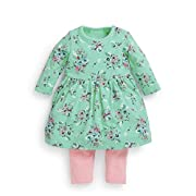 FERENYI Baby Girls Clothes Suit Cartoon Girl Long-Sleeved Dress with Pants Sets (4-10 Months, Green)
