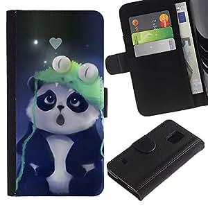 Protector de cuero de la PU de la cubierta del estilo de la carpeta del tirón BY RAYDREAMMM - Samsung Galaxy S5 V SM-G900 - Cute Panda