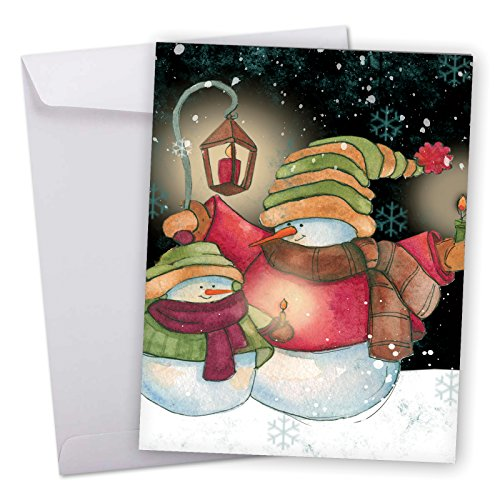 J6657GSGG Jumbo Seasons Greetings Card: Snow Pals Featuring Cute and Cuddly Watercolor Snowmen and Friends Against a Snowy Nighttime Backdrop,With Envelope (Extra Large Version: 8.5'' x ()