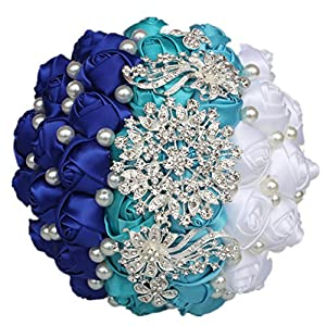 S-ssoy Special Mix-Color Ribbon Rose Flowers Wedding Bouquet Pearls Diamond Bridal Wedding Stitch Bouquet Custom Made Available, Blue+White 92