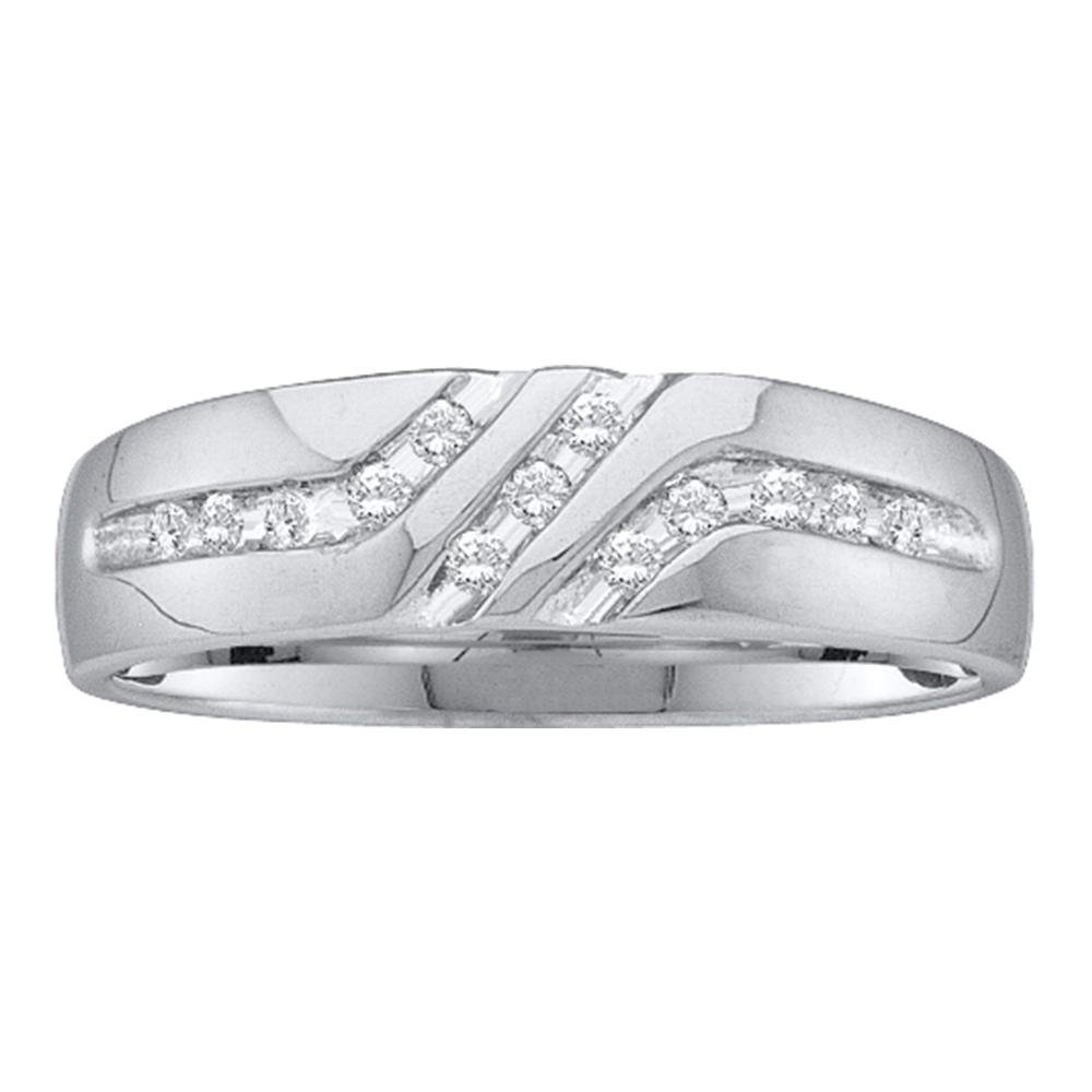 Mens Diamond Wedding Band Solid 10k White Gold Bridal Ring Three Row Round Channel Set Fancy 1/8 ctw by GemApex