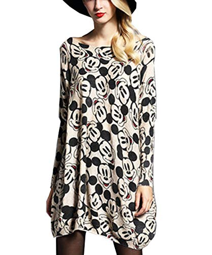 Women's Baggy Mickey Mouse Print Knit Pullover Dress One Size Sweaters