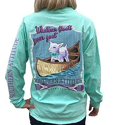 Southern Attitude Whatever Floats Your Goat Seafoam Green Long Sleeve Women's Shirt