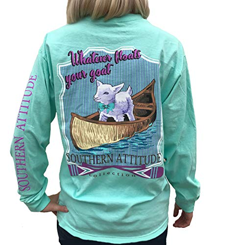 Southern Attitude Whatever Floats Your Goat Seafoam Green Long Sleeve Women's Shirt (X-Large) ()