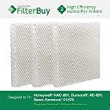 Honeywell HAC-801, Duracraft AC-801, Sears Kenmore 01478 Replacement Humidifier Wick Filters. Pack of 3 Filters. Designed by FilterBuy.