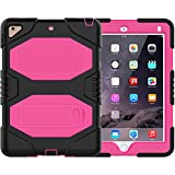 iPad 9.7 2018 2017 Case - ZERMU Heavy Duty Shockproof Rugged Cover Three Layer Hard PC+Silicone Hybrid Impact Resistant Armor Defender Full Body Protective Case with Kickstand for iPad 6th Generation