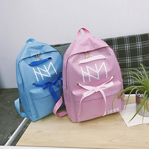 Backpack collectsound Fashion Light School Bandage Women's up Bag Blue Shoulder Rucksack Travel Grey Lace wqP7t5cgg