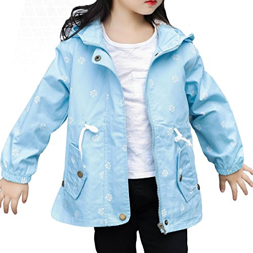 LE CHARME Spring Fall Cute Jacket for Girls Lightweight Jacket for Teen Girls Wind Hooded Coat with Flower Printing Zipper Windbreaker by LE CHARME