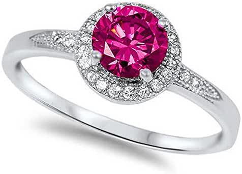 Halo Simulated Ruby & Cubic Zirconia Fashion .925 Sterling Silver Ring Sizes 4-10