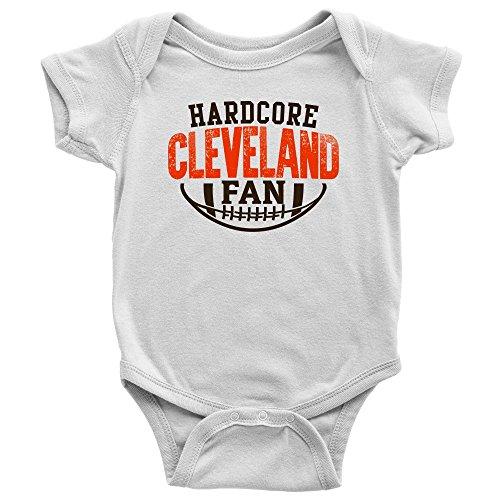Price comparison product image PassionLoft Hardcore Cleveland Football Fan Baby Bodysuit Infant Romper Jumpsuit Creeper One Piece Shirt Outfit