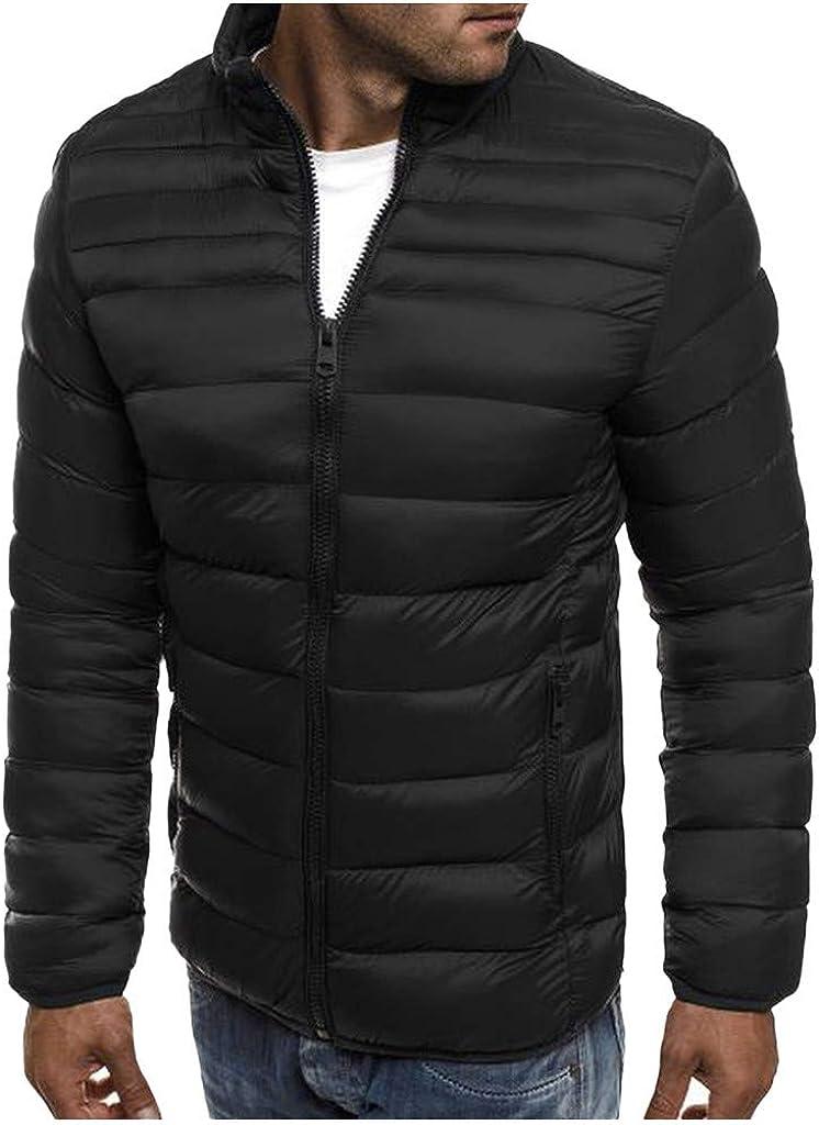 TIFENNY Men's Fashion Long Sleeve Outcoat Autumn Winter Zipper Warm Down Jacket Packable Light Coats