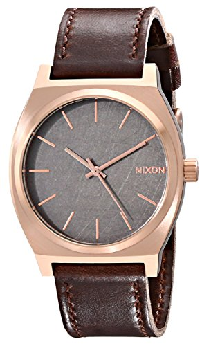 Brown Face - Nixon Time Teller Rose Gold / Gunmetal / Brown Unisex Watch (37mm. Rose Gold/Gunmetal Face/Brown Leather Band)