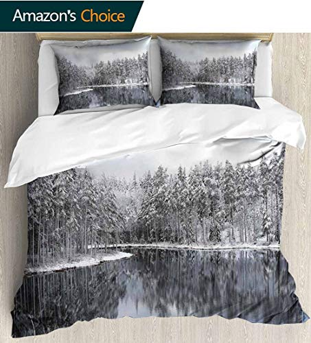 Woodland Decor 3 PCS King Size Comforter Set,Lake Surrounded by Snow Covered trees on a Cold Winter Day in Finland Reflections Decorative 3 Piece Bedding Set with 2 Pillow Sham 104