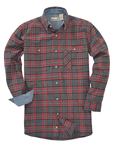 Backpacker Men's Yarn-Dyed Flannel Shirt L Red Gray (Flannel 5 Oz Shirt)