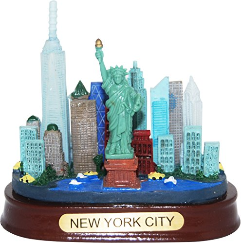 Apple Statue (New York City Detailed Skyline Monument Paperweight Statue- Featuring replica of Statue of Liberty, Empire State Building, Freedom Tower and the one of a kind new york landscape)
