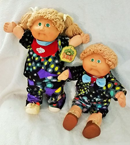 Vintage 1985 Cabbage Patch Kids Twins Boy & Girl Dolls with Matching Outfits Green Eyes & Dark Blonde Hair