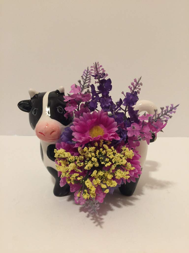 ANIMAL FUN - CERAMIC BLACK & WHITE COW VASE 1 - PURPLE & YELLOW AND BLUE & YELLOW MINI DAISIES - YELLOW BABIES BREATH - PURPLE LAVENDER