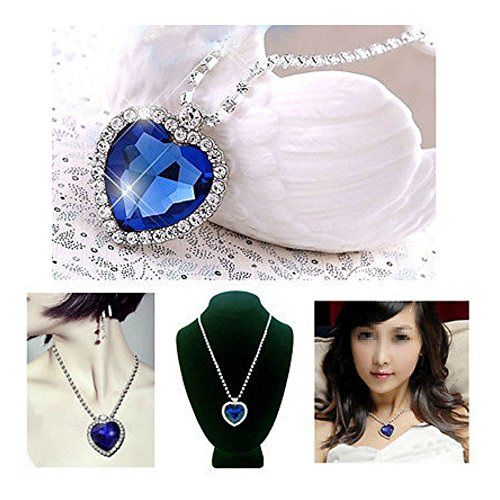 (Heart of Ocean Blue Crystal Diamond Necklace Chain Pendant Necklace Fashion)