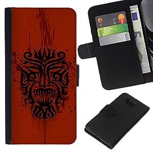 KLONGSHOP // Tirón de la caja Cartera de cuero con ranuras para tarjetas - Dragón tribal indio nativo Red Pattern - Samsung ALPHA G850 //