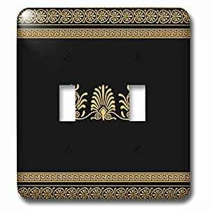 3dRose lsp_56709_2 Golden Yellow and Black Ancient Greek Decorative Spirals and Palm Leaves Classic Grecian Key Double Toggle Switch