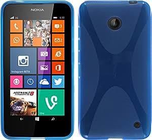 TuMundoSmartphone® FUNDA de GEL TPU AZUL para NOKIA LUMIA 630 / 635 G130H MODELO X-LINE