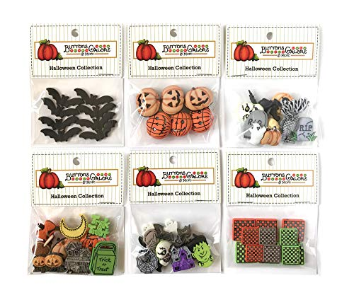 Buttons Galore 50+ Assorted Halloween Buttons for Sewing & Crafts - Set of 6 Button Packs - Bats, Jack O Lanterns & More