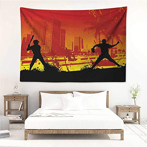 alisos Teen Room,The Art Tapestry Men Playing Baseball in The Town City Park Tall Buildings Urban Scenery 60W x 51L inch Fashion Wall Tapestry Red Yellow ()