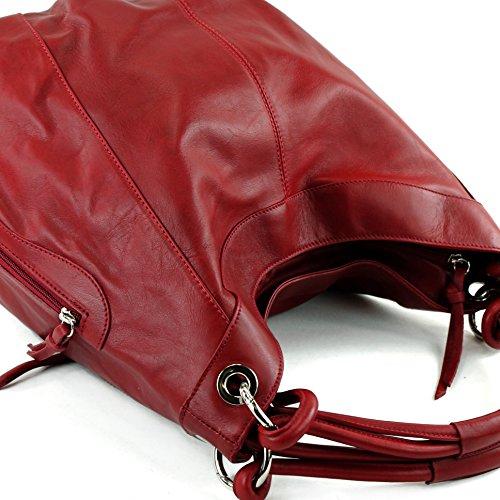 Dunkelrot Made al de Italy para mujer hombro Bolso cuero TTnpBq8w