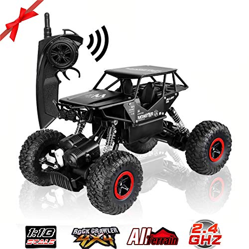 (SZJJX RC Cars Off-Road Rock Crawler Truck Vehicle 2.4Ghz 4WD 1:18 Radio Remote Control Cars Electric Fast Racing Buggy Hobby Car (Black))
