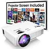 DR. J Professional HI-04 1080P Supported 4Inch Mini Projector with 170' Display - 40,000 Hours LED Full HD Video Projector, Compatible with HDMI,USB,SD (Latest Upgrade)