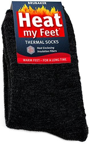 - BRUBAKER Heat my Feet Thermal Socks - 2 Pairs - Dark Grey - Size: 4-7