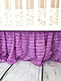 Lilac Purple Crib Skirt, Dust Ruffle for Baby Girl Nursery Bedding, Shabby Chic Luxury Vintage Cottage Style for Newborn Bedroom Decor
