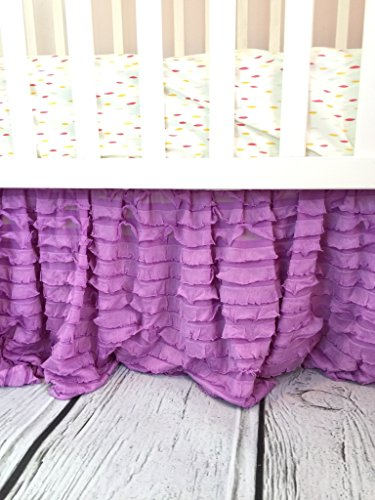 Lilac Purple Crib Skirt for Baby Girl Nursery Bedding Dust Ruffle