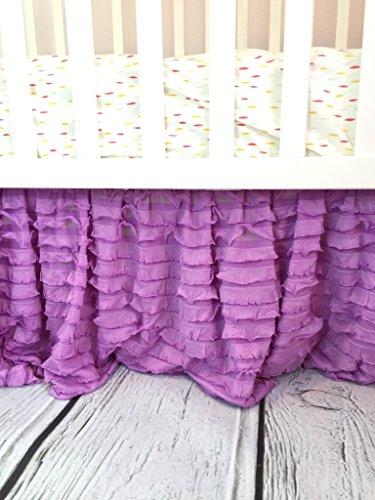 Lilac Purple Crib Skirt, Dust Ruffle for Baby Girl Nursery Bedding, Shabby Chic Luxury Vintage Cottage Style for Newborn Bedroom Decor (Ruffle Purple)