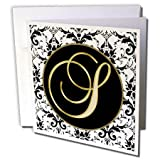 3dRose Fancy Monograms - Image of The Script Letter S in Black White and Gold - 12 Greeting Cards with Envelopes (gc_256283_2)