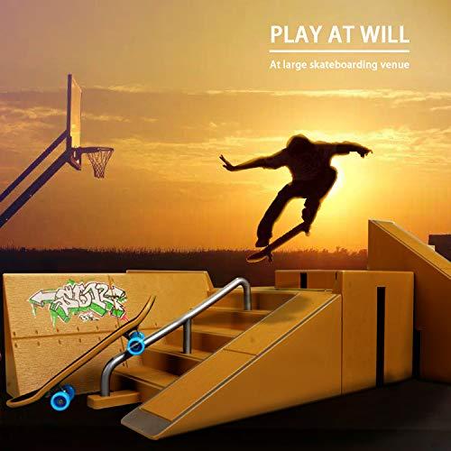 TIME4DEALS Finger Skateboard Park 8pcs Skate Park Kit Ramp Parts, Mini Fingerboard Rails Starter Kit with 3 fingerboards & 5 Silicone Mat Set by TIME4DEALS (Image #3)