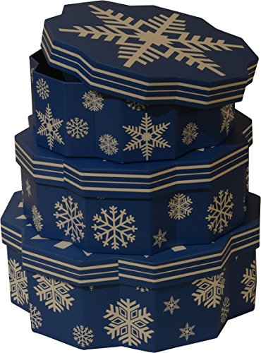 Large Nested (Christmas nested Gift Boxes; Snowflake shape, set of 3 different sizes, new 2016 design)