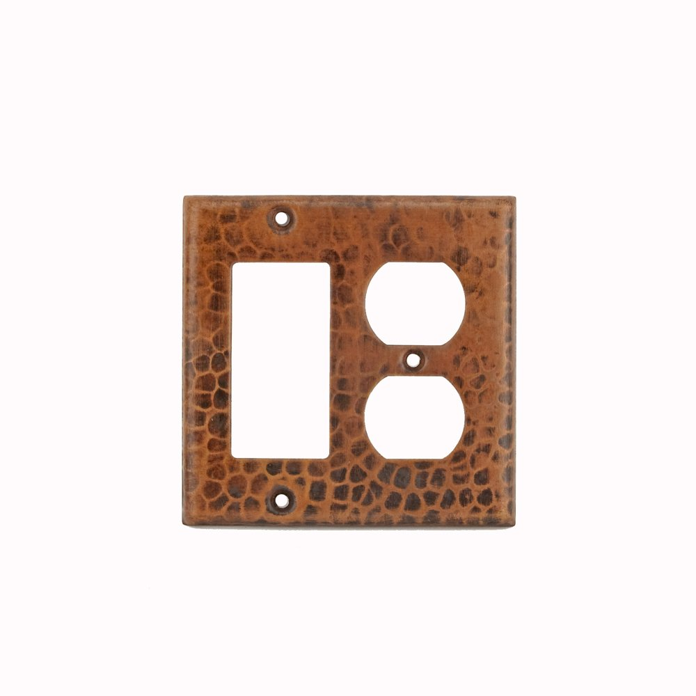 Premier Copper Products SCOR Copper Combination Switch Plate with Two Hole Outlet and Ground Fault/Rocker GFI Cover, Oil Rubbed Bronze