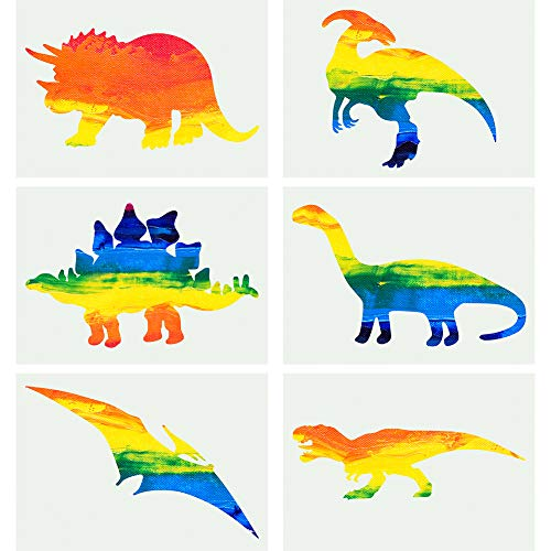 LLGLTEC Dinosaurs Stencil Reusable Kids Stencil Template for Painting on Wood, Paper, Fabric, Glass and Wall Art (Pack of