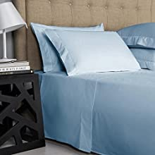 Top Selling on Amazon Queen Size Sheets Luxury Soft 550-TC Egyptian Cotton - Sheet Set for Queen Size (60x80) Mattress Fits 10-12 Inches Fully Elastic Deep Pocket (Solid, Light Blue)