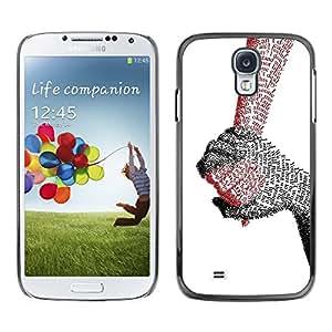 QCASE / Samsung Galaxy S4 I9500 / manos que sostienen el amor verdadero carta cita pareja / Delgado Negro Plástico caso cubierta Shell Armor Funda Case Cover
